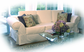 Custom made slipcover for sofas / couches, slipcovers for loveseats and armchairs