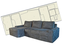 Slipcover Pattern Sectional Body Only One Arm Wrapback Corner Chise