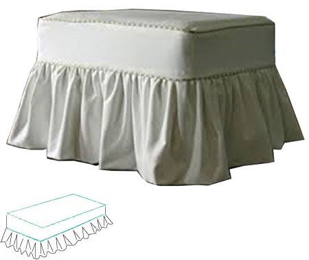 ottoman slipcover style cottage floor length cottage design with soft gathered skirt and covered cord accent on body and cushion covers